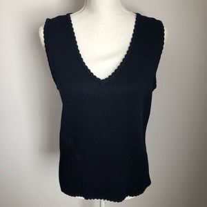 St. John Navy Sleeveless V-Neck Knit Ribbed Top S